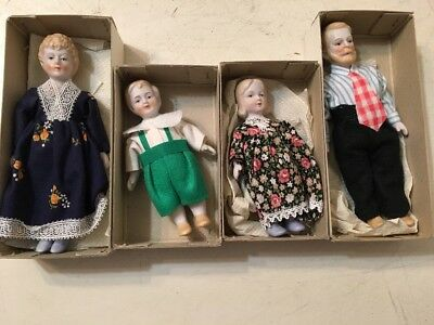 Lot Of 4 Vintage Bisque Dolls Made In Japan Mother Father 2 Children