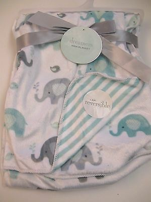 Dreamers Sherpa Baby Blanket Elephant 30x40 Green, White, Grey