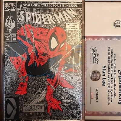 Amazing Spider-Man #1 Signed By Stan Lee W/ COA Todd Mcfarlane Art Silver Cover