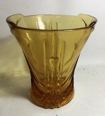 ANTIQUE ART DECO 1930's DEPRESSION GLASS AMBER VASE