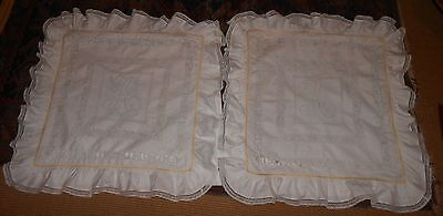 Vintage Victorian Pair Hand Done Bed Pillow Covers Wedding Trousseau Ca 1890's