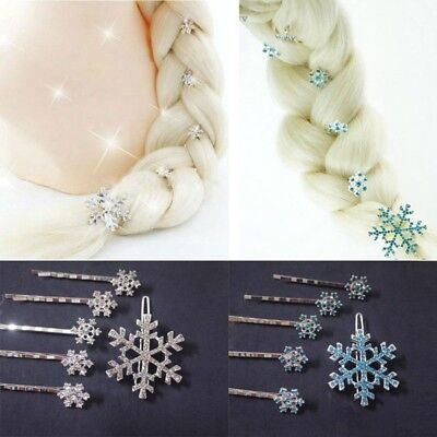 Girls Hair Clips Princess Crystal Snowflake Hairpin Kids Hair Clip 6 pcs/set