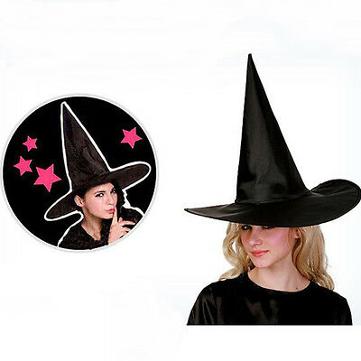 Adult Women Men Black Witch Hat For Halloween Costume Accessory Hen's Party Cap