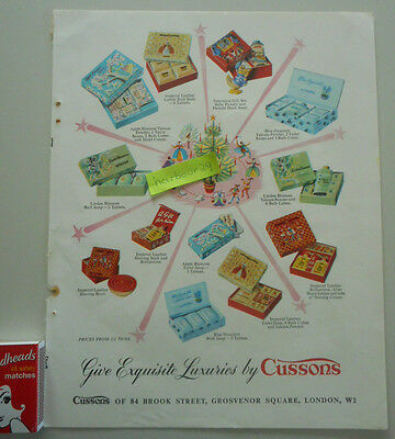 CUSSONS soap,bath cubes talc,full page vintage color paper advertisement Duralay