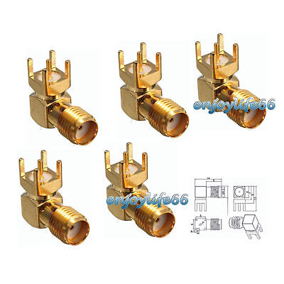 5PCS SMA Female Jack Right Angle PCB Board Mount RF Adapter Coaxial Connector