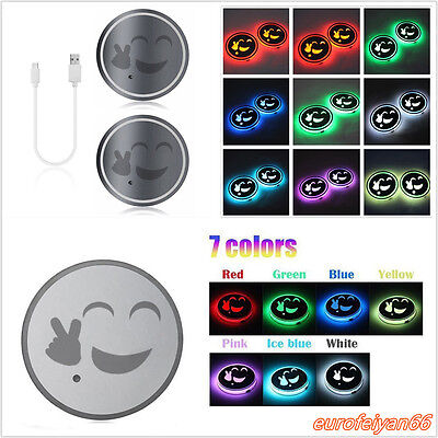 One Pair USB Charger RGB LED Vehicle Cup Bottle Holder Bottom Pad Cover Mat Trim