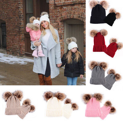 Mom&Me Kids Newborn Girl Boy Baby Knitted Hat Winter Warmer Wool Fur Pompom Ball