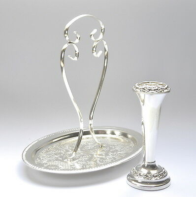 Beautiful Silver Plate Ornate Engraved Cake Serving Tray & Rose Vase