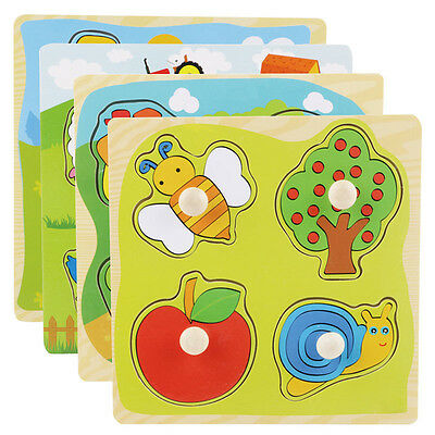 4Shape Wooden Adjustable Colorful Animal Puzzle Toy Baby Kids Educational Brick.