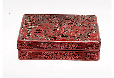 A Carved Cinnabar Lacquer Box And Cover Antique