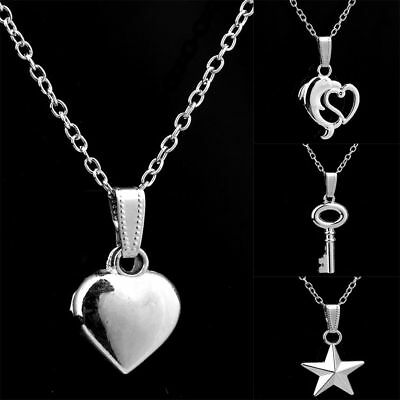 Dolphin Love Heart Key Airplane Chain Necklace Jewelry Silver Charms Pendants