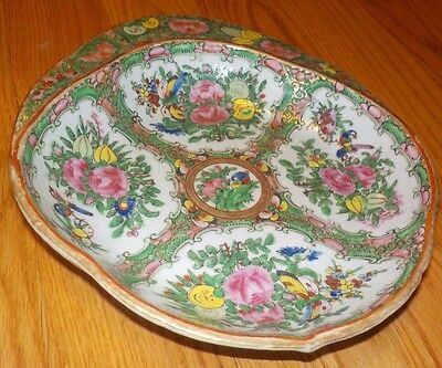 19th Century Chinese Rose Medallion Unusual Bowl Serving Plate Dish Nice!
