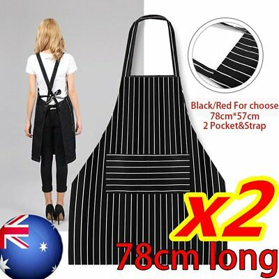 Apron Washable Cotton Pocket Butcher Waiter Chef Kitchen Cooking Unisex Black