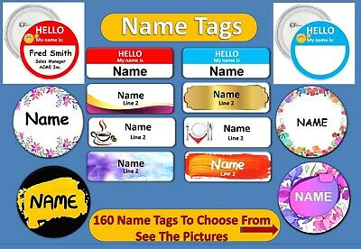 Choose a Name Tag Badge 58mm Circle & 25mm x 70mm rectangular (100 to Pick From)