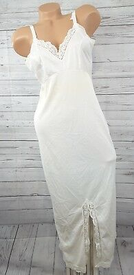 Vintage white nylon & lace Evening Gown Formal Length Full Slip Size 34
