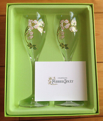 2 x Perrier Jouet Belle Epoque Champagne Flutes -  Brand New in Gift Box