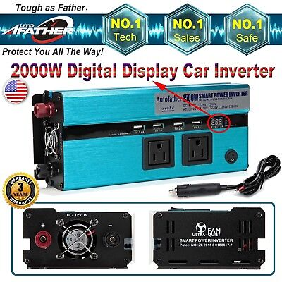 Power Inverter for Car DC to AC 1500W/3000W Peak USB Port Outlet Digital Display