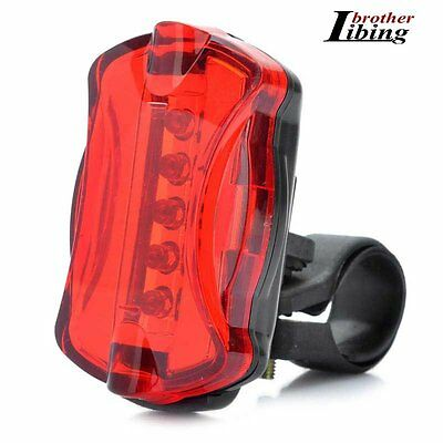 Bike Bicycle Cycling MTB 5 LED 6 Mode Red Rear Light Tail Back Lamps Safety New