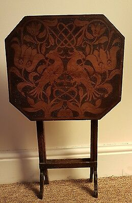 Stunning Arts & Crafts Pokerwork Folding Table Parrots, Flowers & Foilage
