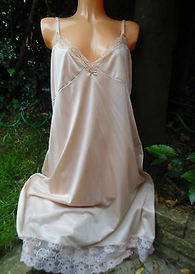 Vintage Glossy Wet Look Nylon Nude Lace Petticoat Slip Lingerie Large Chest 44