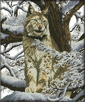 Snow Leopard (2). 14CT counted cross stitch kit. Craft brand new.