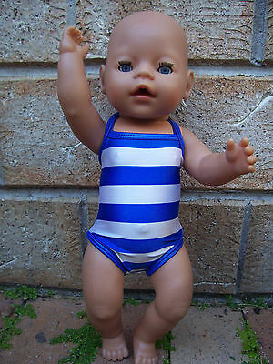 "Dolls blue and white striped swimsuit  handmade to fit 17"" Baby Born or similar"