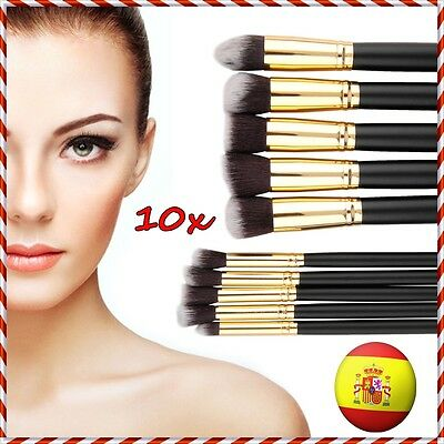 10x BROCHAS PINCELES MADERA SET MAQUILLAJE PROFESIONAL COSMETICO MAKEUP BRUSHES