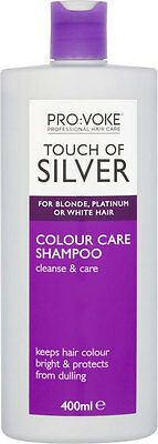 400ml Provoke Touch of Silver Colour Care Shampoo For Blonde Platinum White Hair