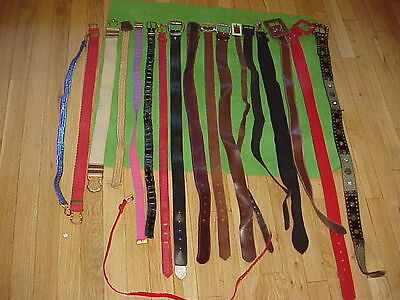 VTG Lot 18 Belts 1940s/50s/60s/70s/80s Vinyl/Leather/Fabric/Suede small -Trashed