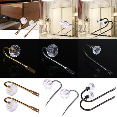 2x Crystal Glass Curtain Holdback Wall Tie Back Hook Hanger Holder Drawer Handle