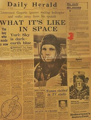 Newspaper / Periodico Daily Herald 13 April Yuri Gagarin