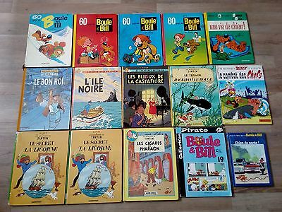 Livre Bd Lot Boule Bill & Tintin & Etc.. Comics Bande Dessine Collection