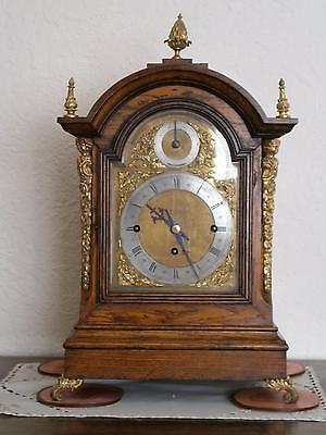 Eight Bell Triple Fusee Oak and Brass Mounted Bracket Clock Serviced &Overhauld