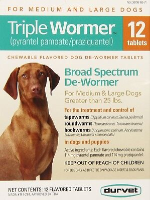 Durvet 12 Pack Triple Wormer Tablets for Medium and Large Dogs FREE SHIPPING