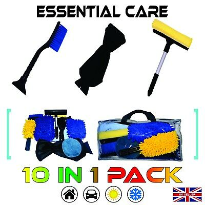 Winter Ice Snow Scraper Brush in 10 Piece Essential Home & Car Cleaning Kit