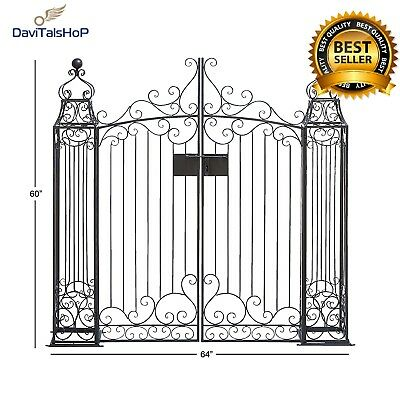 Home Decor Black Wrought Iron Garden Gate Door Classic Vintage Swinging Doors
