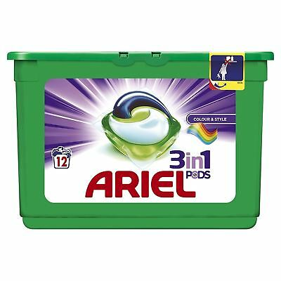 Ariel 3-in-1 Colour Liquitabs Bio Washing Detergent Cleaning Pods - 12 Washes