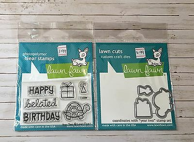 LAWN FAWN STAMP & MATCHING CUTTING DIE - YEAR TWO - tortoise belated Birthday