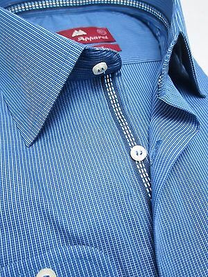 Moka Apparel Blue Mens Business Shirt Single Cuff Pure Cotton Inner Lace Sydey