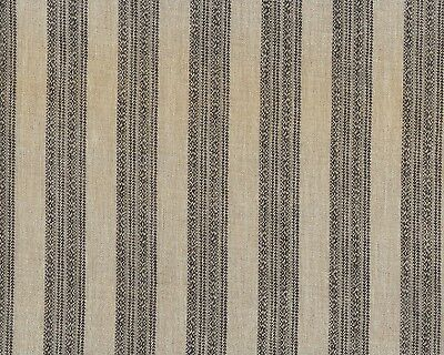 Antique 1860 Brown & Tan Stripe Wool Challis Fabric