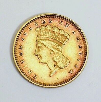 1874 Type 3 Gold One Dollar $1 Indian Princess Head Coin Xf
