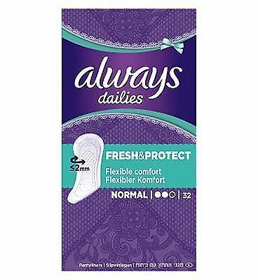 Always Dailies Panty Liners Normal Fresh & Protect Odour Neutralising Pack of 32