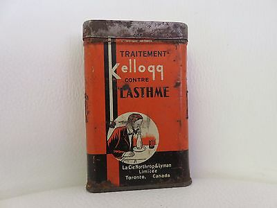 Antique c. 1915 Kellogg Asthma Relief Remedy Tin Apothecary Medicine