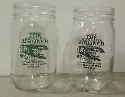 2 Pint Glasses from The Airliner Bar University of Iowa Hawkeyes Iowa City