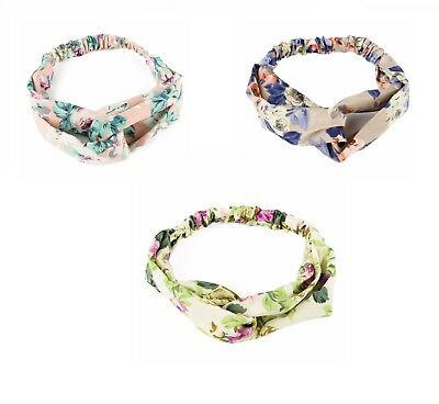Elastic Headband Hairband Twist Knot Stretch Soft Fabric Band Floral Rose Print