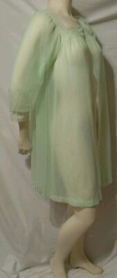 Vintage Sheer Flowing Double Layer Chiffon Cover Up Mint Green Lace Decolletage