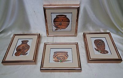 "Set of 4 Southwestern Vintage Hand Crafted ""Calderas"" Copper Art (Made in AZ)"