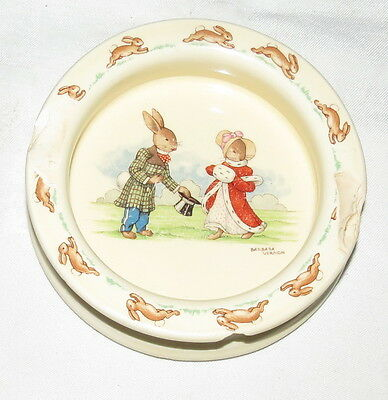 "Royal Doulton Barbara Vernon Vintage Bunnykins 6"" Baby Dish Lord and Lady AS IS"