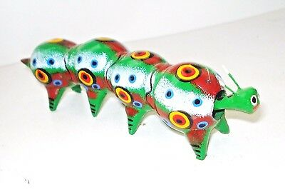 Vintage Mexico Caterpillar Figurine Bobble Head  Nodder Colorful Design Nr