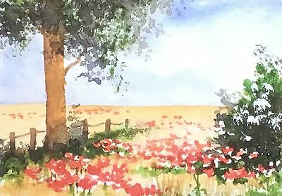ACEO giclee print Poppies in the Cornfield By Pamela J West